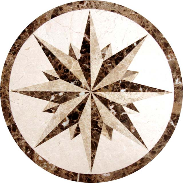 Circular Marble Inlay Flooring : Water jet round